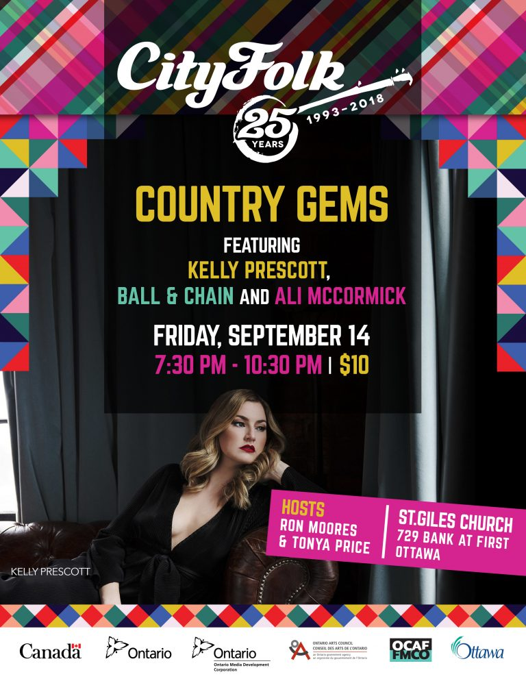 Country Gems: Featuring Kelly Prescott, Ball & Chain and Ali McCormick. Friday, September 14. 7:30 PM - 10:30 PM. Tickets $10.