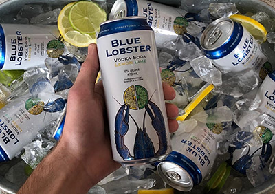 A can of Blue Loster Vodka Soda